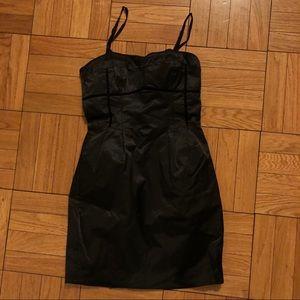 Corset-lined black mini dress